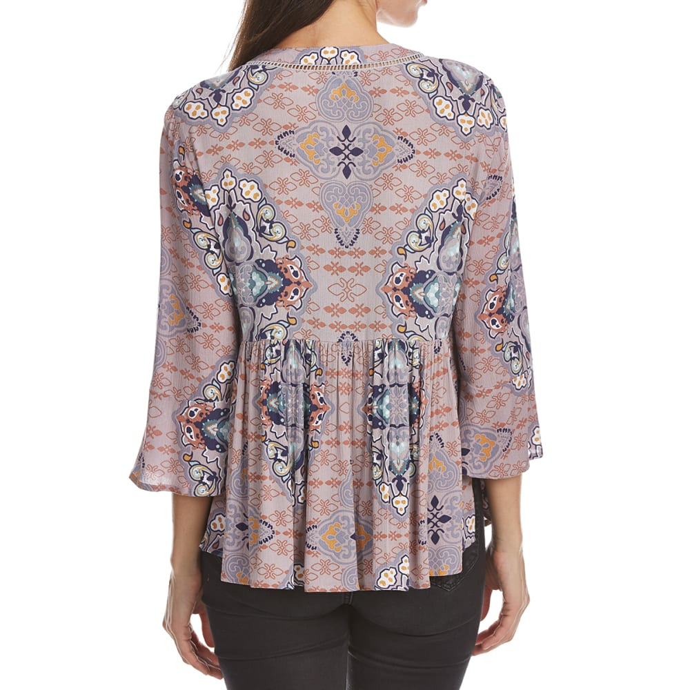 CRIMSON IN GRACE Women's Print Woven Long Flare-Sleeve Top - HMP-HILLSIDE MAUVE/P