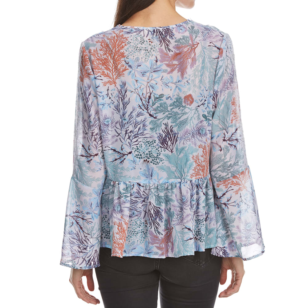 CRIMSON IN GRACE Women's Print Chiffon Long-Sleeve Peasant Top - GMS-GREY MIST