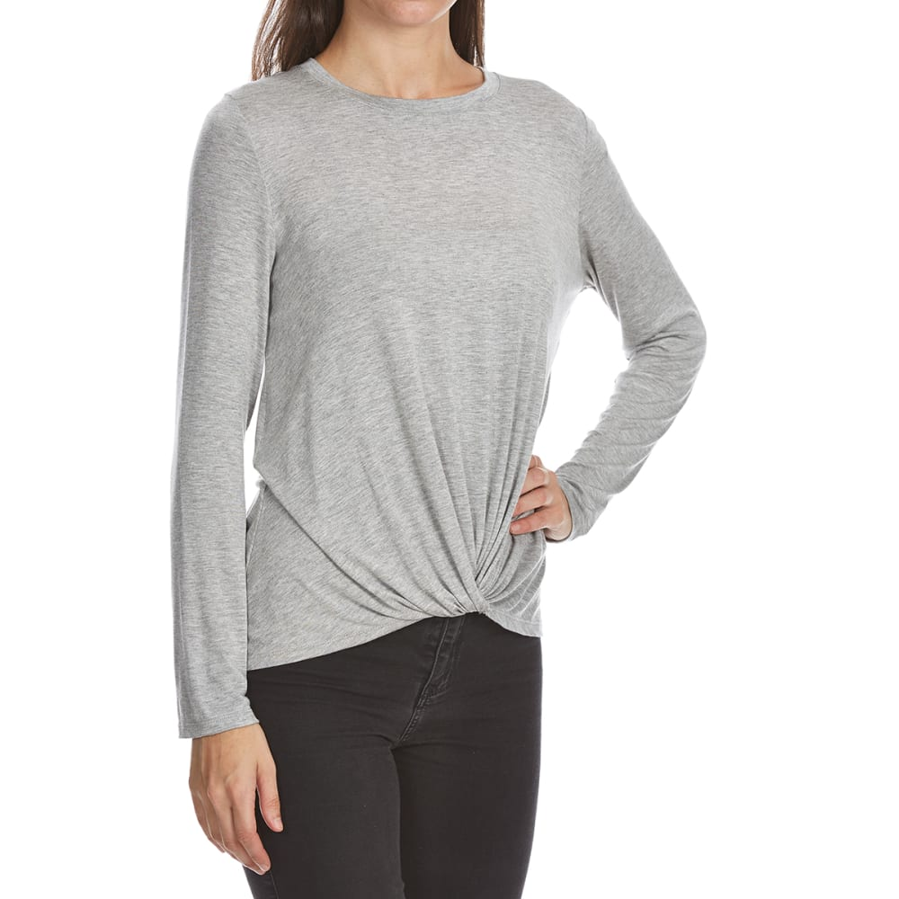 CRIMSON IN GRACE Women's Twist Front Long-Sleeve Top - HGREY-HTHR GREY