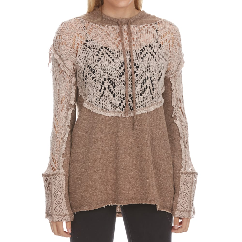CRIMSON IN GRACE Women's French Terry Lace Long-Sleeve Pullover Hoodie - CME-COCOA MELANGE