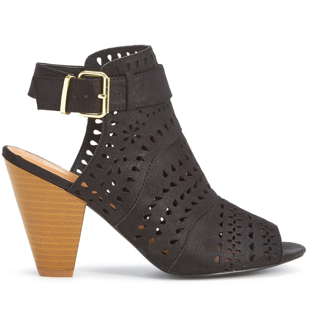 QUPID Women's Chamber-17 Perforated Booties, Black - BLACK