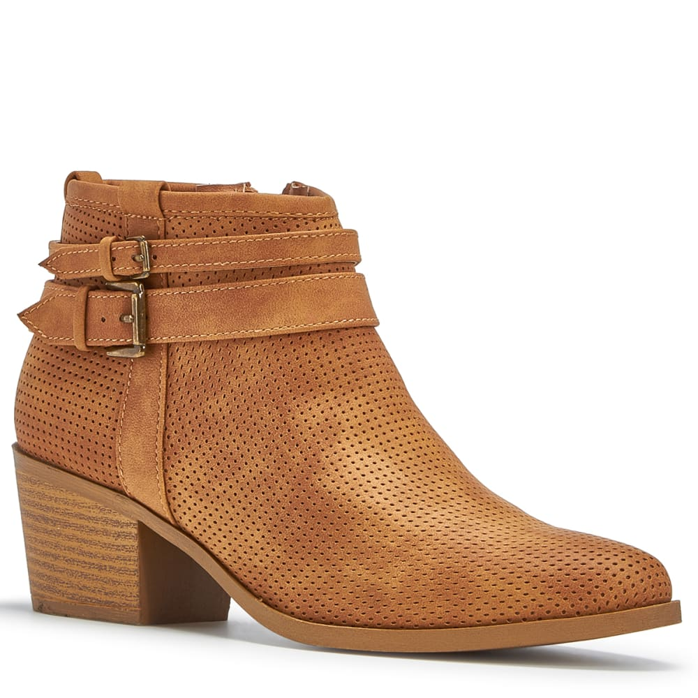 QUPID Women's Rover-13 Perforated Booties, Tan - TAN