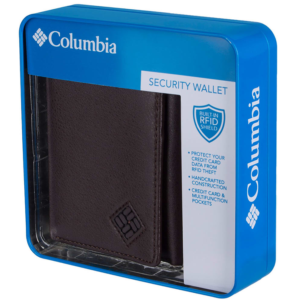 COLUMBIA Men's RFID Blocking Trifold Security Wallet - BROWN  200