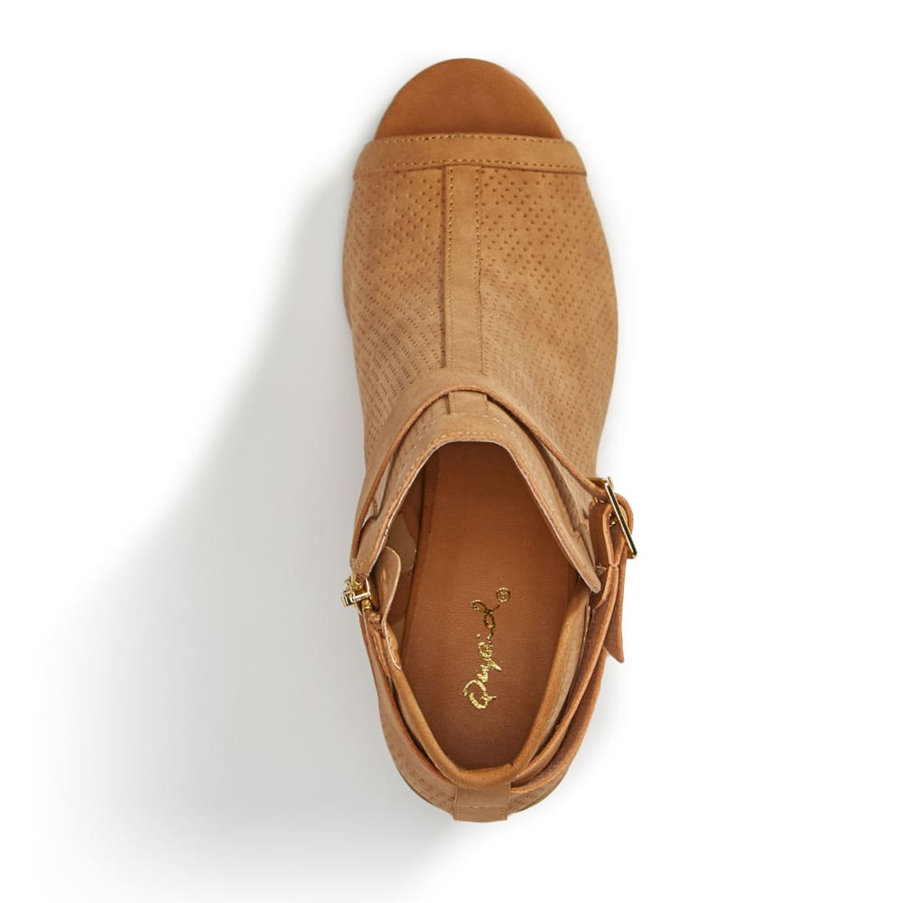 QUPID Women's Clyde-23 Perforated Peep Toe Booties, Tan - TAN