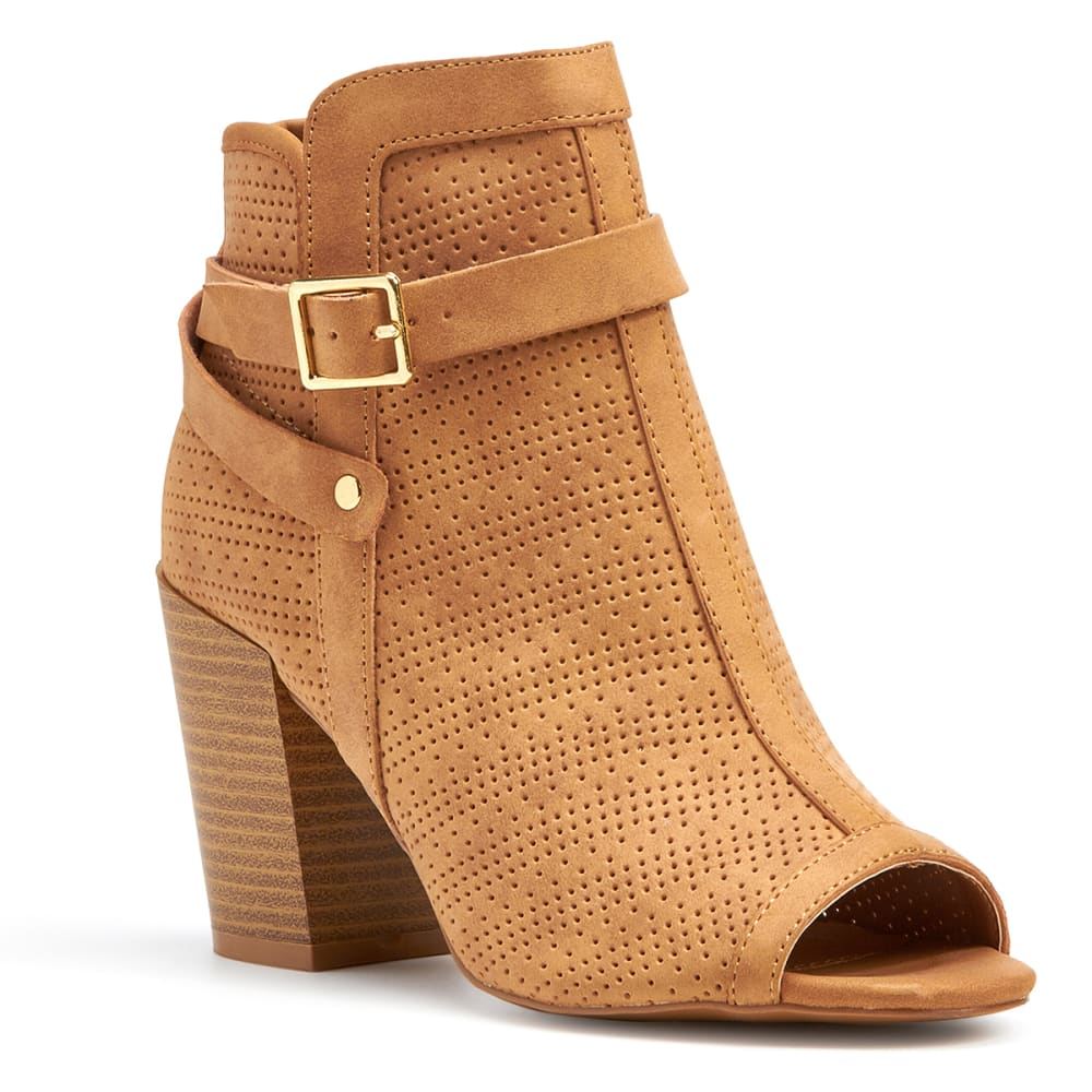QUPID Women's Clyde-23 Perforated Peep Toe Booties, Tan - TAN