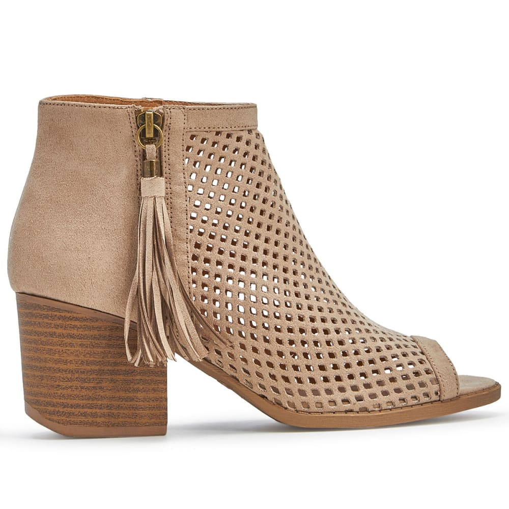 QUPID Women's Core-18 Perforated Booties, Light Taupe - LIGHT TAUPE