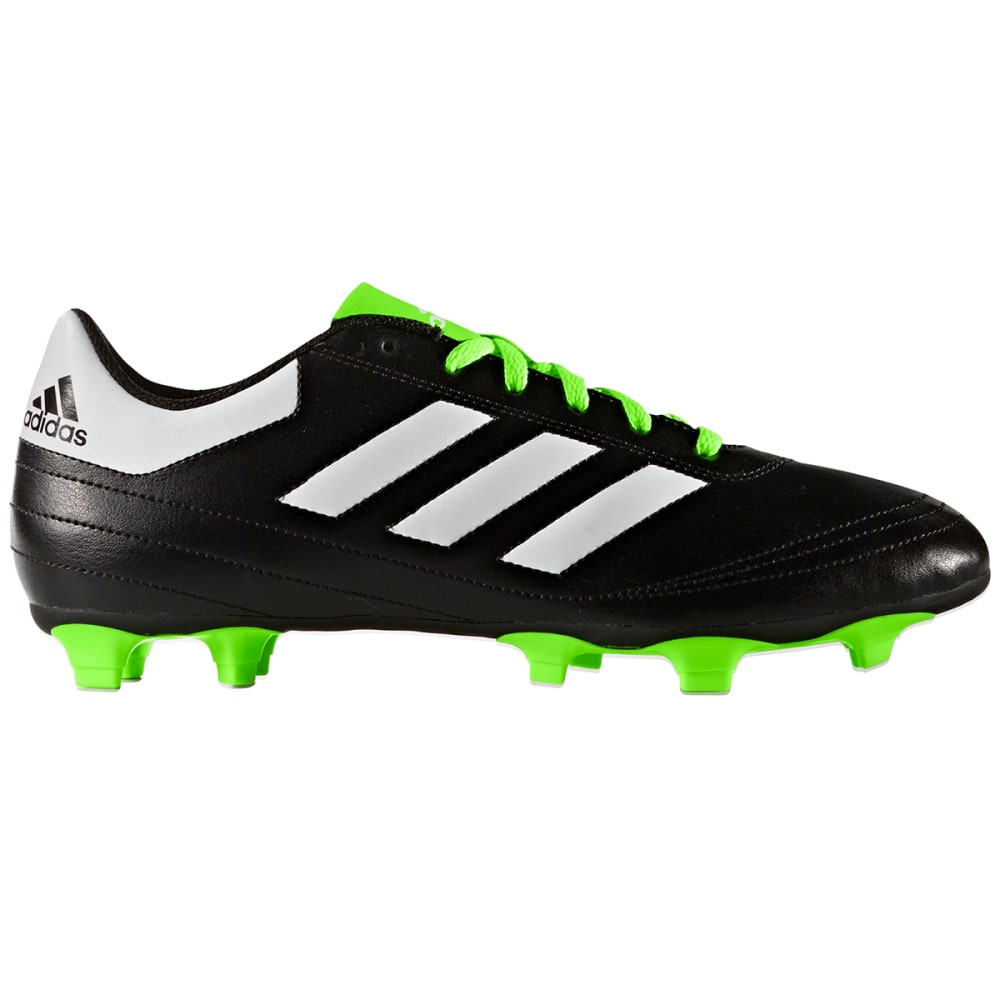 ADIDAS Men's Goletto VI FG Soccer Cleats, Black/White/Green - BLACK