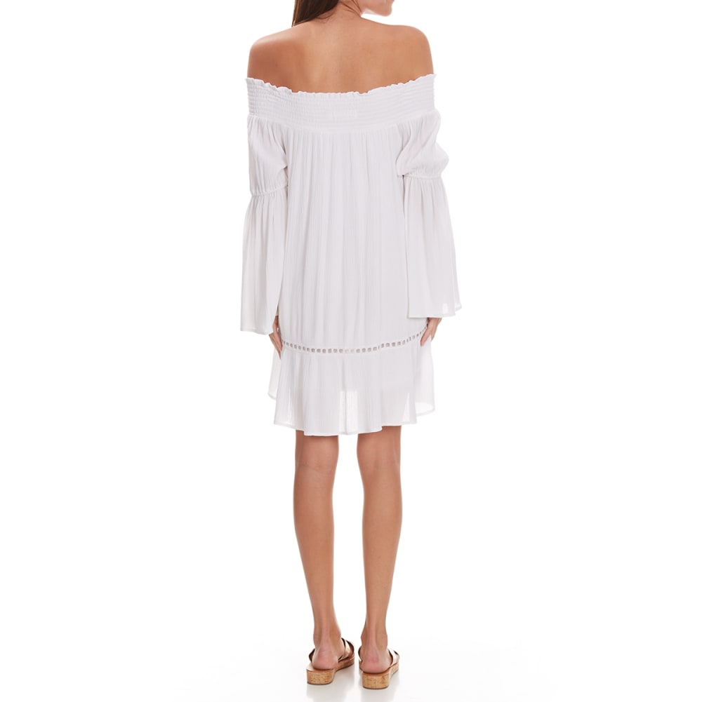 TAYLOR & SAGE Juniors' Embroidered Off the Shoulder Dress - CLW-CLEAN WHITE