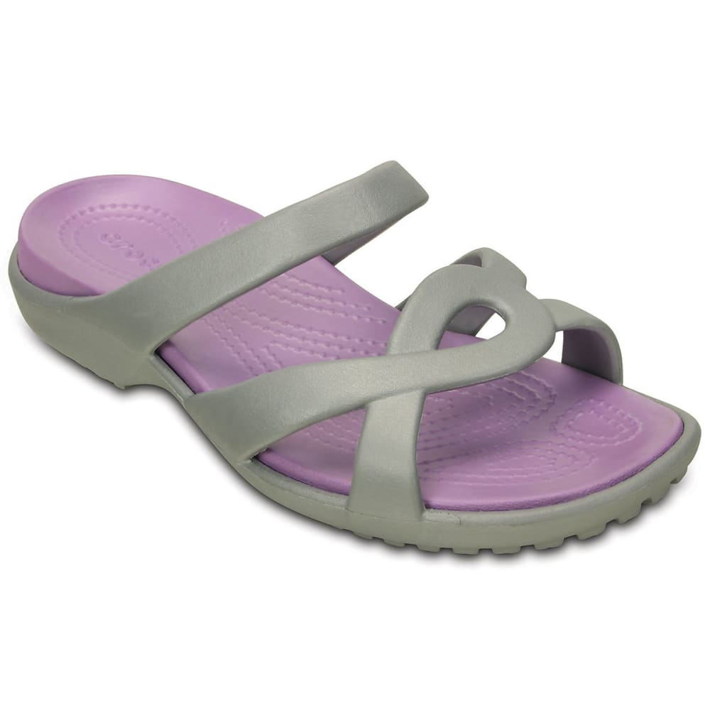 Crocs Women's Meleen Twist Sandals, Silver/iris - Black, 6