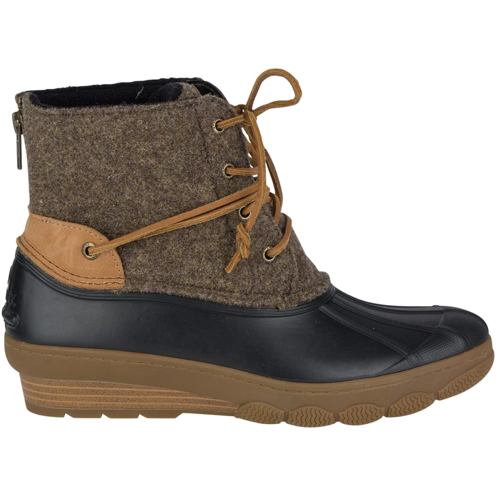 SPERRY Women's 6 in. Saltwater Wedge Tide Wool Duck Boots, Brown/Canteen - BROWN/CANTEEN