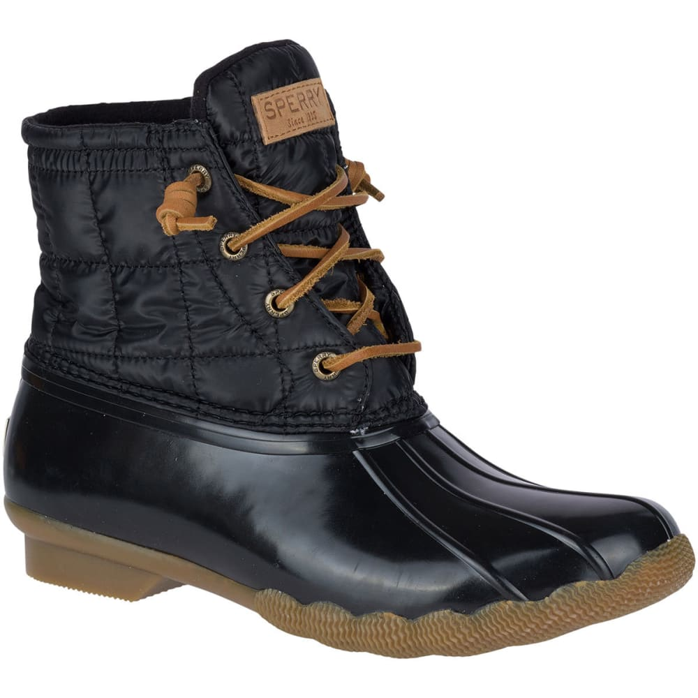 SPERRY Women's Saltwater Shiny Quilted Duck Boots, Black - BLACK