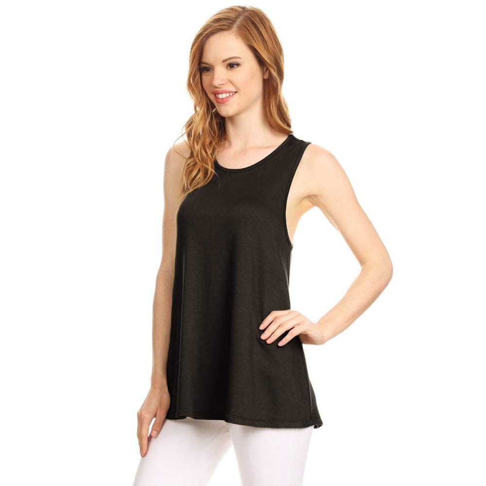 TRESICS LUXE Juniors' Twist Back Tank Top - BLACK