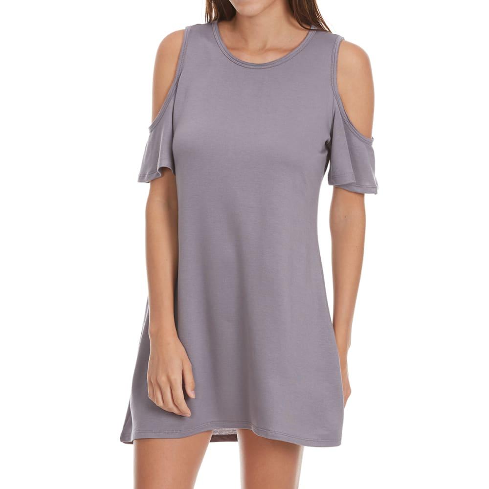 TRESICS LUXE Juniors' Cold Shoulder Dress - STEEL GREY
