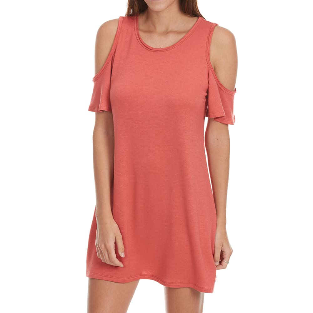 TRESICS LUXE Juniors' Cold Shoulder Dress - MINERAL RED