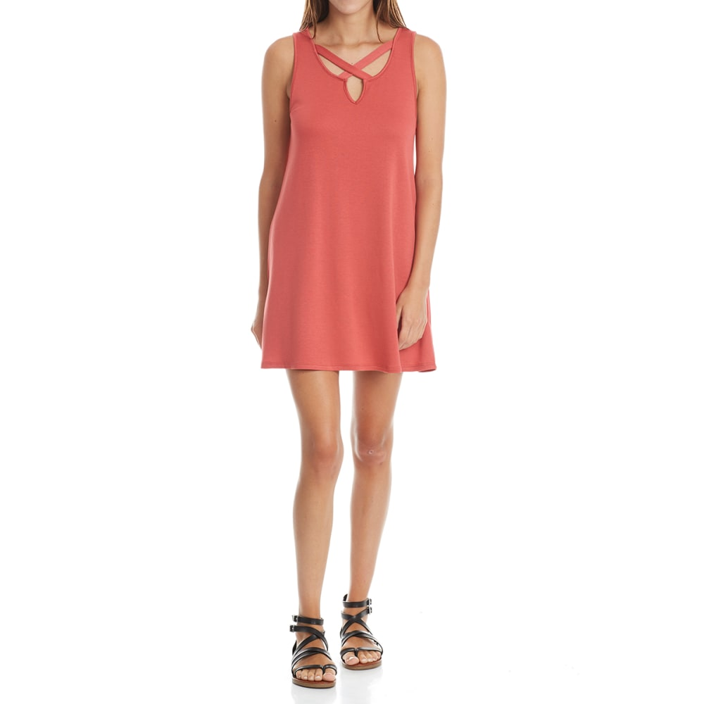 TRESICS LUXE Juniors' Keyhole Trapeze Dress - POTTER'S CLAY