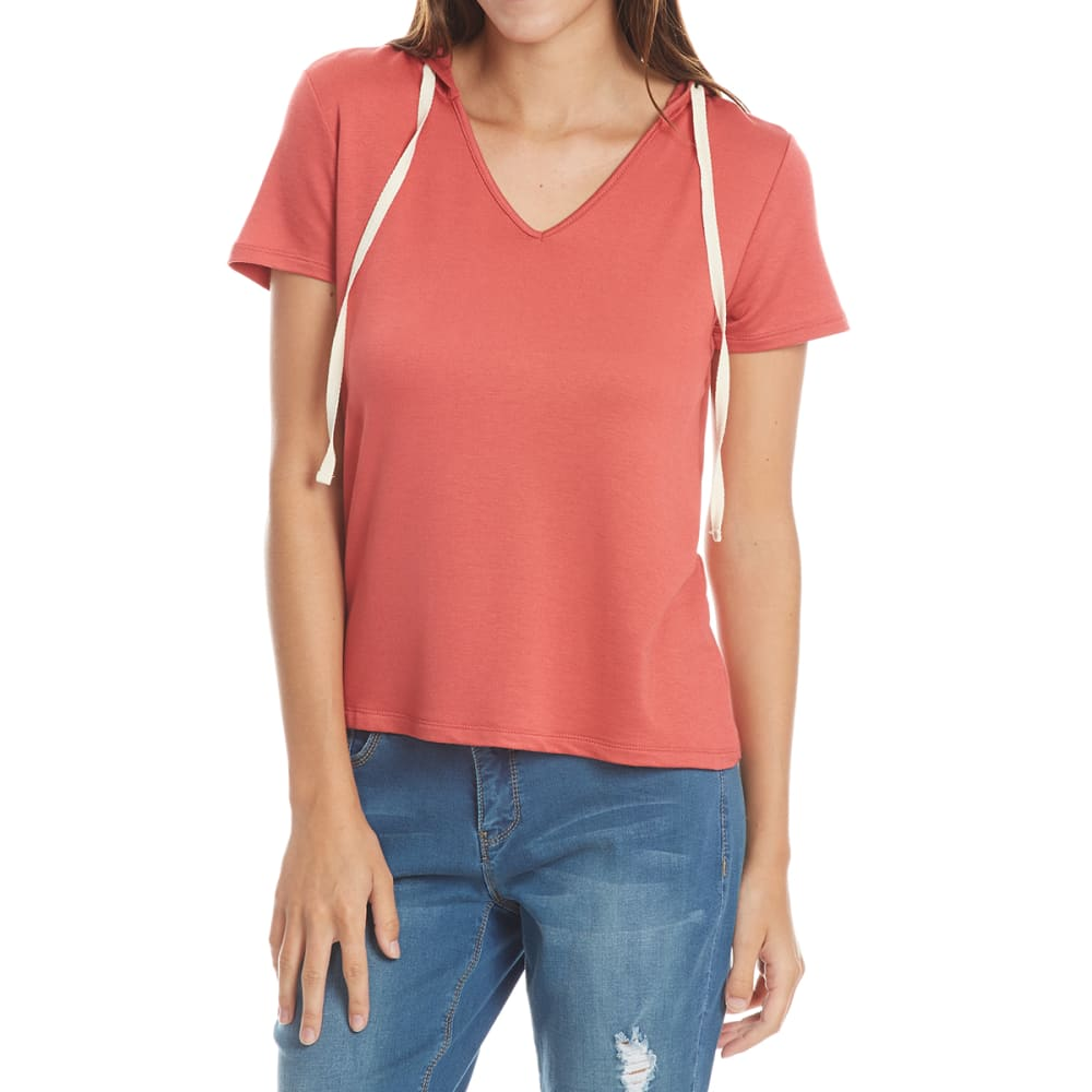 TRESICS LUXE Juniors' Hooded V-Neck Pullover Short-Sleeve Shirt - POTTER'S CLAY