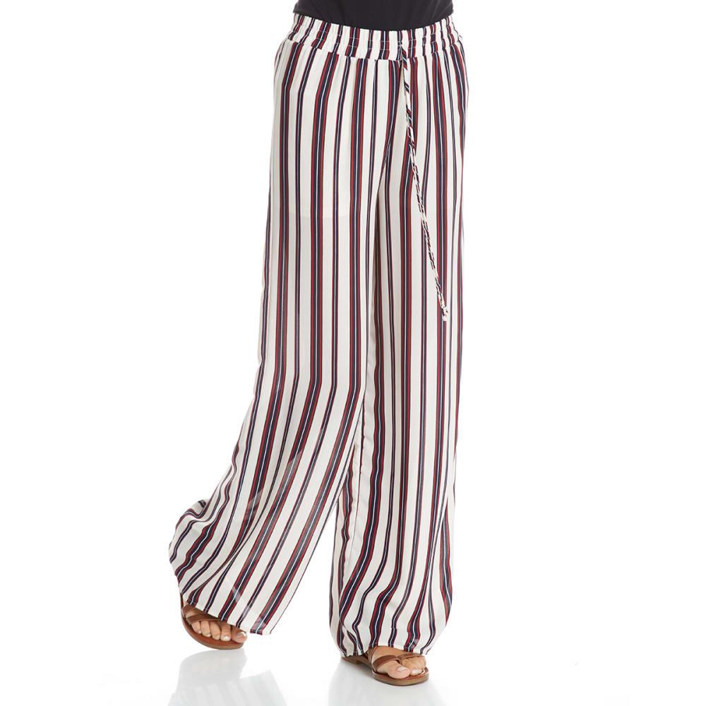 TRESICS LUXE Juniors' Dobby Print Wide-Leg Pants - IVORY/BURGUNDY