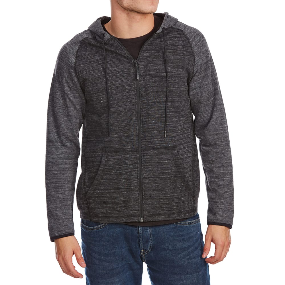 OCEAN CURRENT Guys' Runner Tech Raglan Full-Zip Hoodie - BLACK