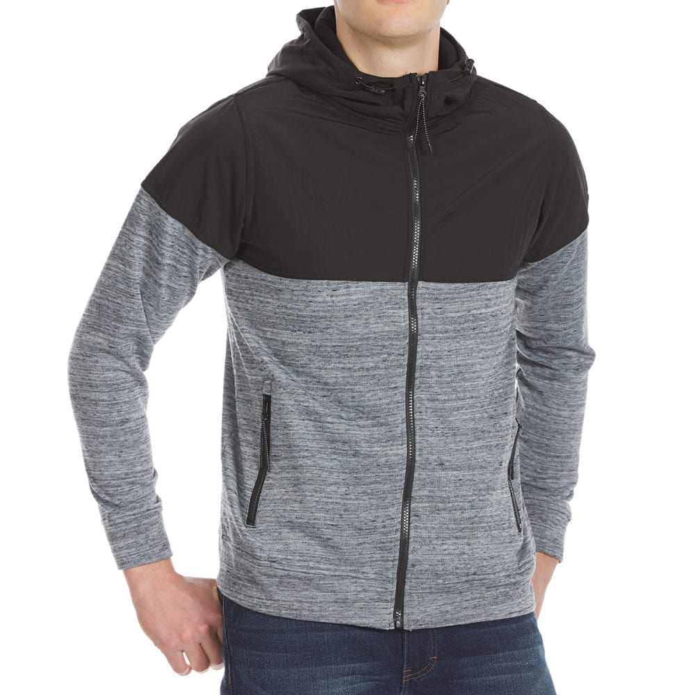 OCEAN CURRENT Guys' Daniel Full-Zip Fleece Windbreaker - BLACK