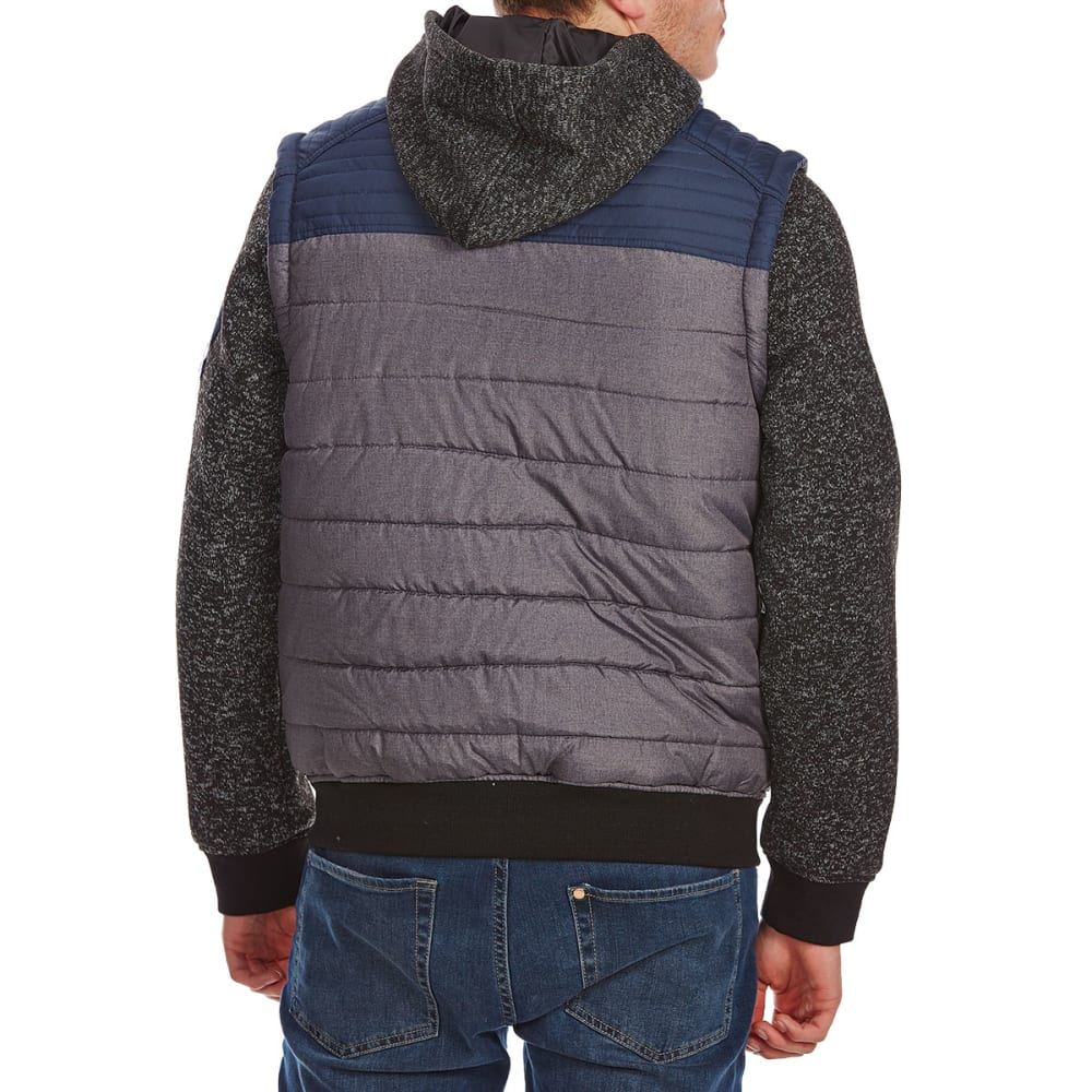 DISTORTION Guys' Quilted Vest with Fleece Sleeves - NAVY
