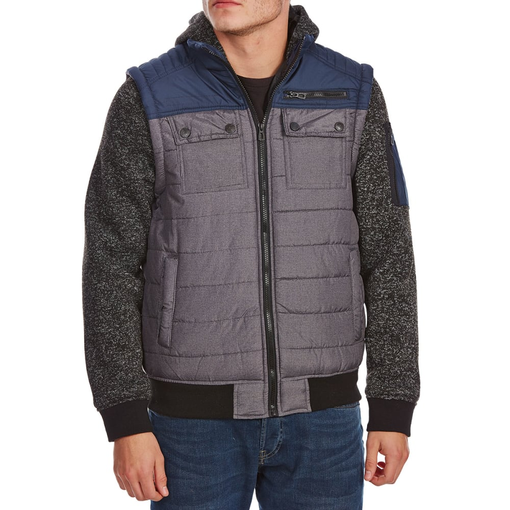 Distortion Guys Quilted Vest With Fleece Sleeves - Blue, S