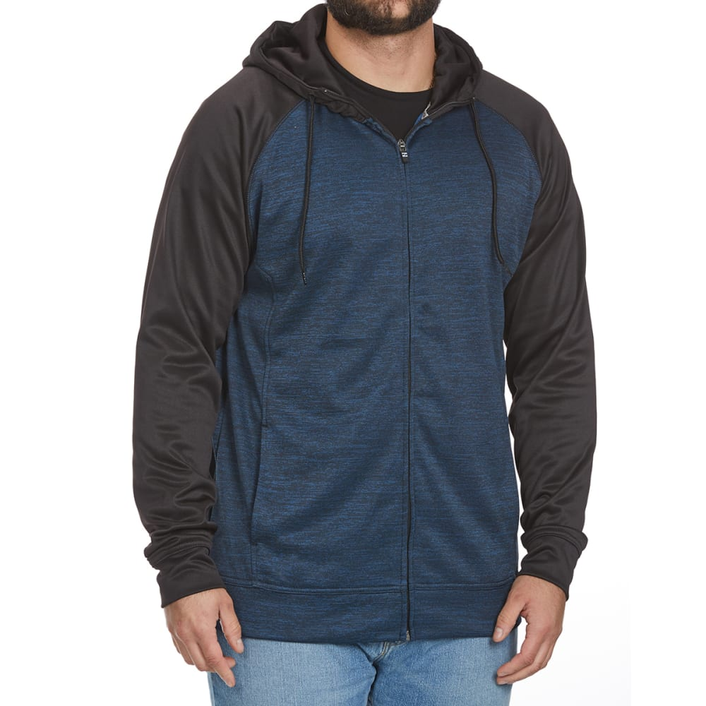 Split Guys Fleece Raglan Full-Zip Hoodie - Blue, S