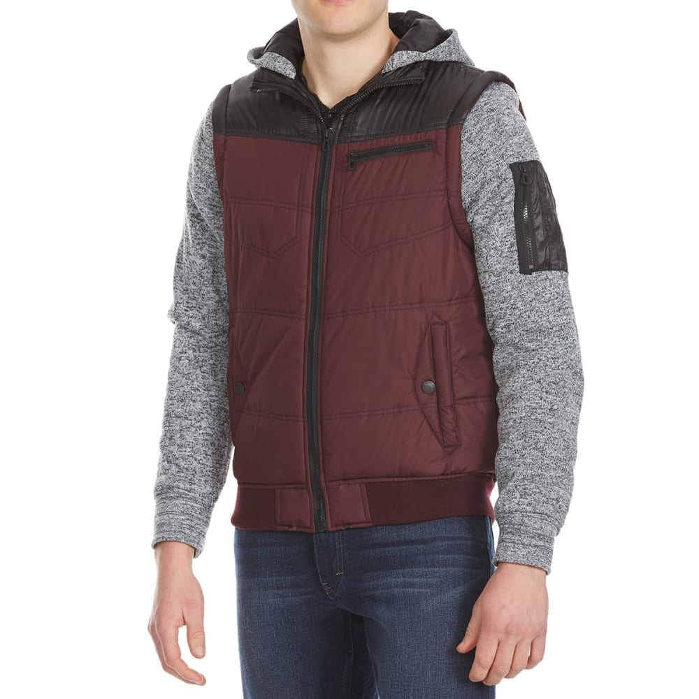 Distortion Guys Quilted Vest With Fleece Sleeves - Red, S
