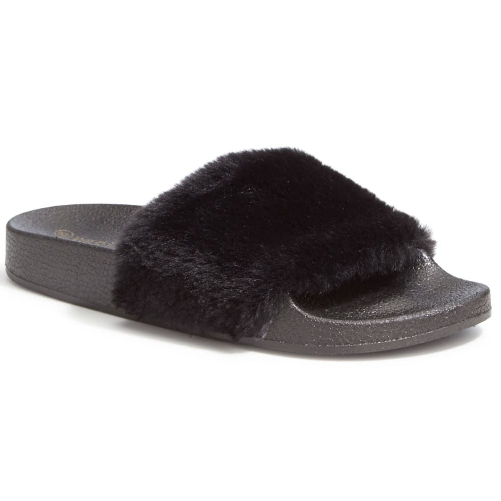 WILD DIVA Women's Matty-01 Faux Fur Slides, Black - BLACK