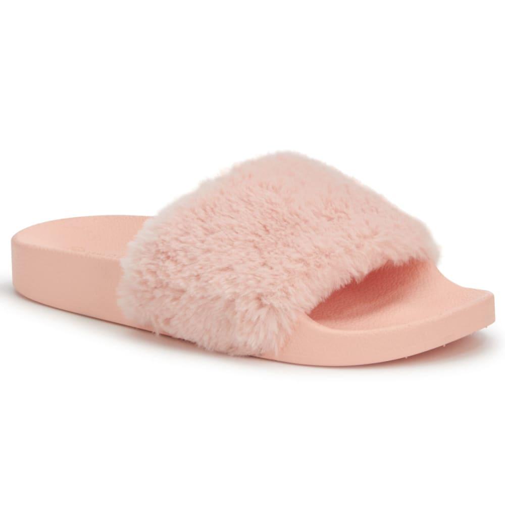 WILD DIVA Women's Matty-01 Faux Fur Slides, Pink - PINK
