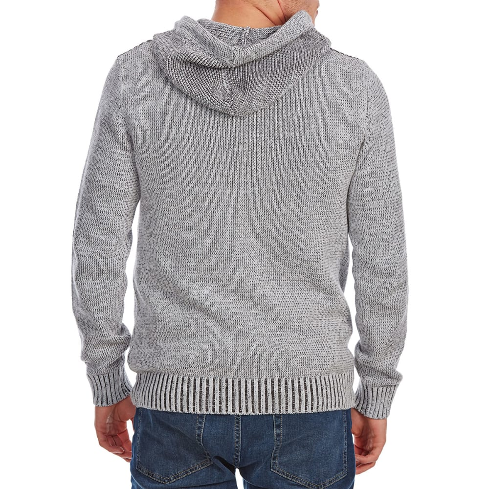 RETROFIT Guys' Hooded Henley Pullover Sweater - PLATINUM HTR