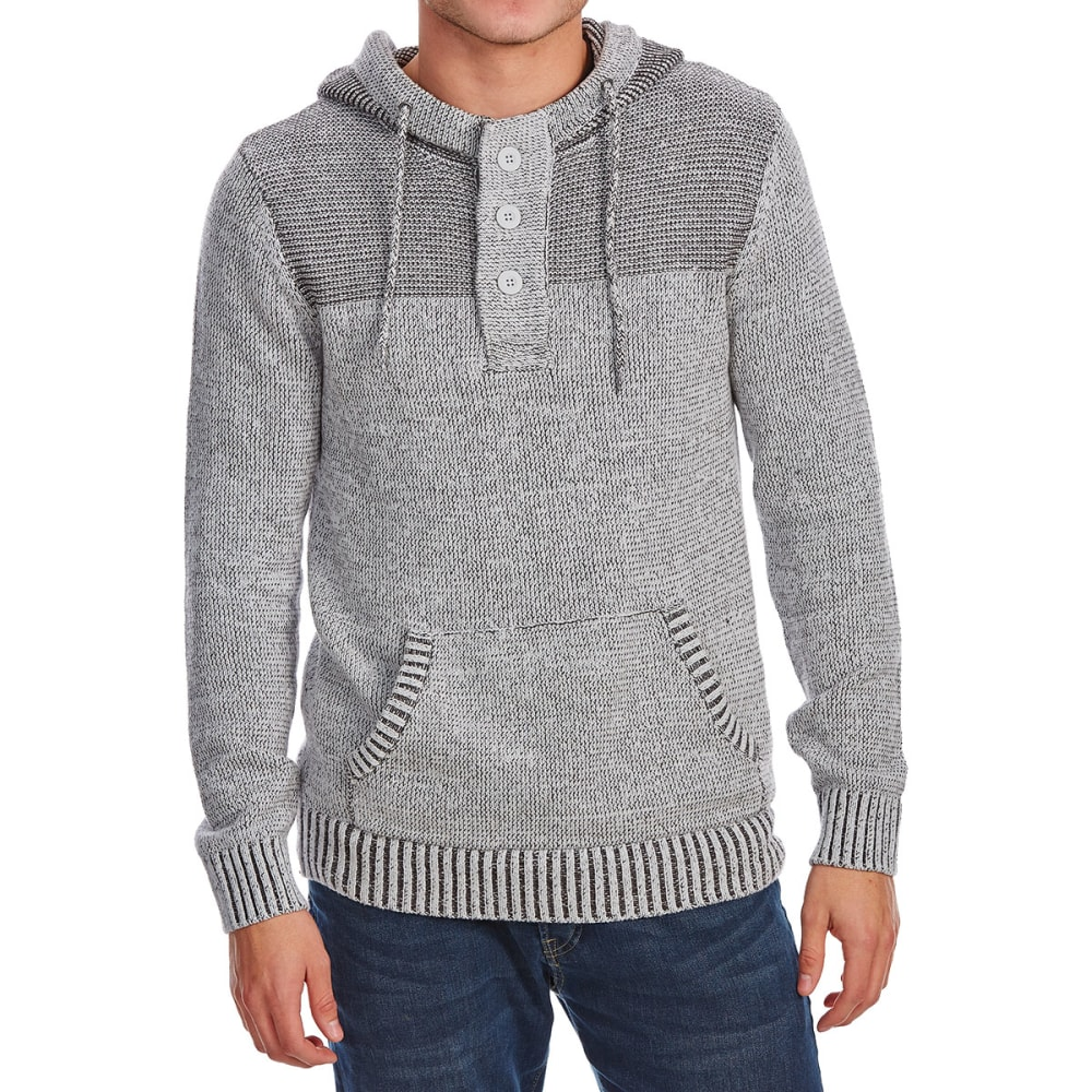 RETROFIT Guys' Hooded Henley Pullover Sweater - PLATINUM HTR