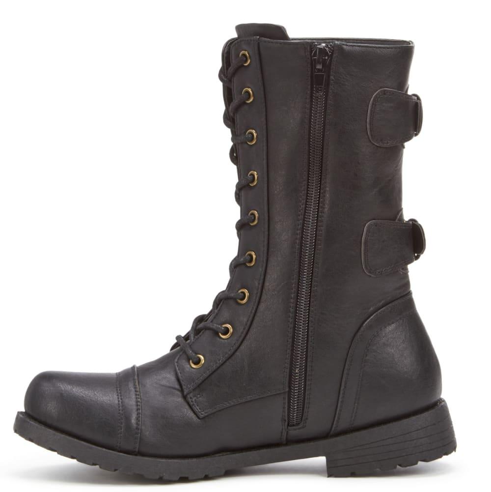 WILD DIVA Women's Tasha-18 Embroidered Boots, Black - BLACK