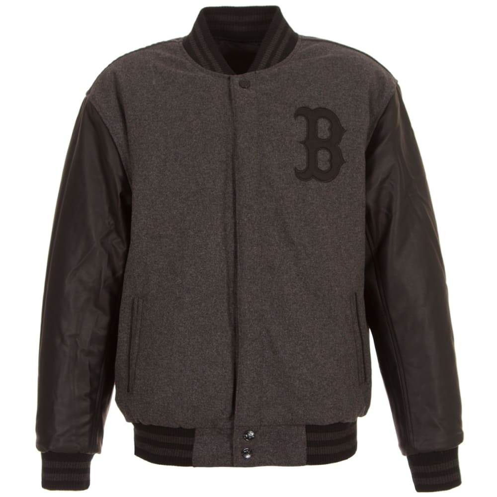 BOSTON RED SOX Men's Wool and PU Reversible Jacket - Charcoal Black