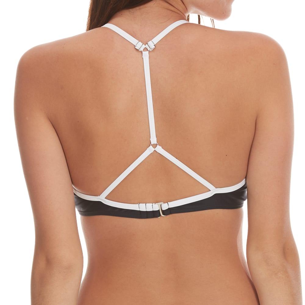 YMI Juniors' Color Block Cage Front Bikini Top - BLACK/WHITE COMBO