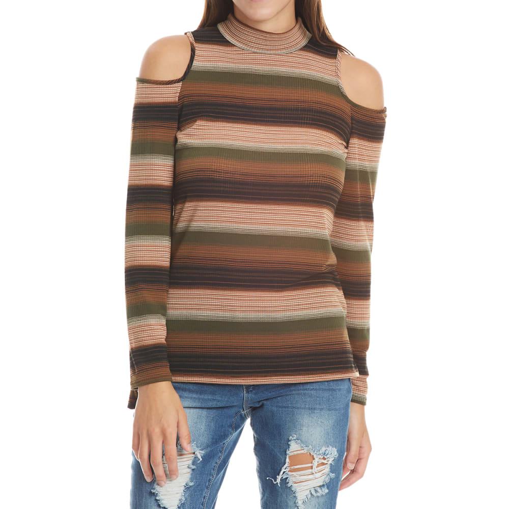 PAPER CUT CLOTHING Juniors' Mock Neck Striped Cold Shoulder - OLIVE/DESERT