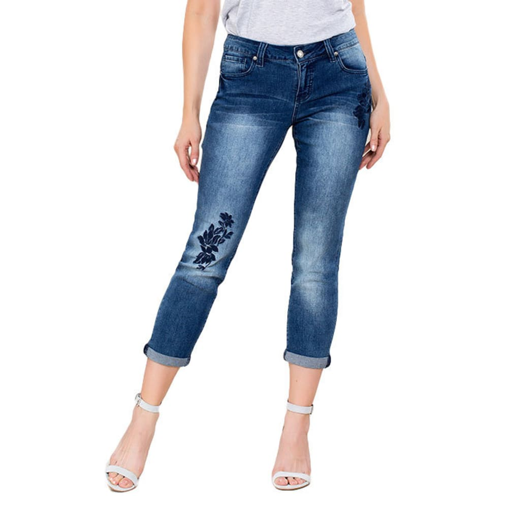 ROYALTY Women's Tonal Embroidered Skinny Cropped Jeans - N666-MED SAND BLAST