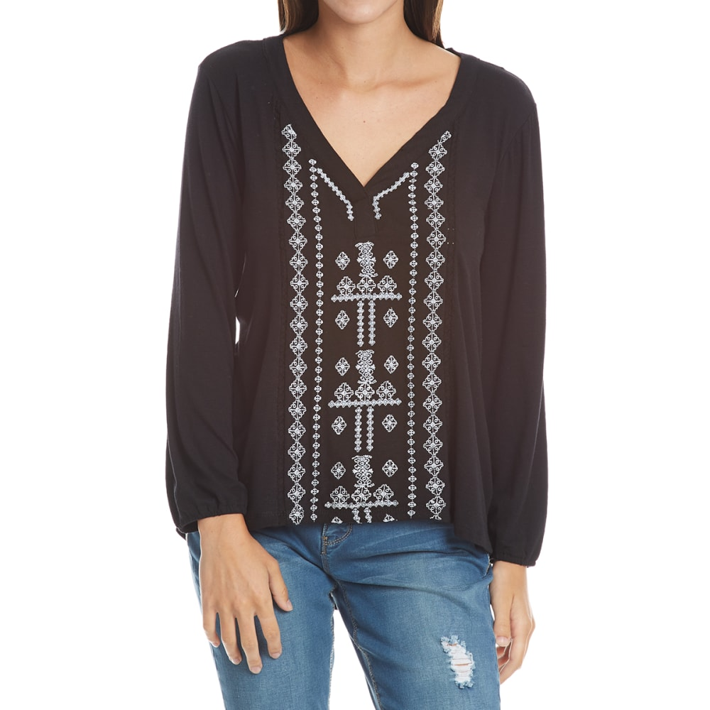 THYME & HONEY Women's Embroidered Front High-Low Long-Sleeve Tee - BLACK