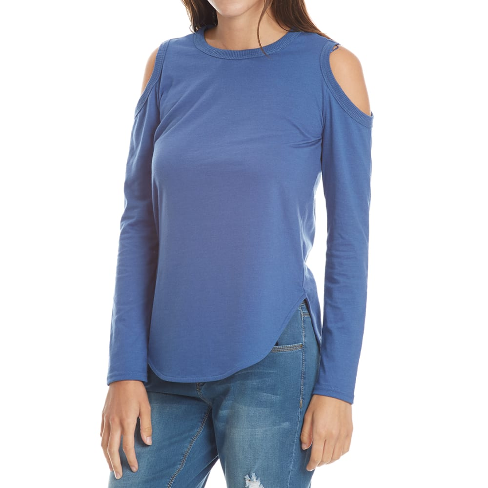 THYME & HONEY Women's Cold Shoulder Long-Sleeve Top - MIDNIGHT HTHR