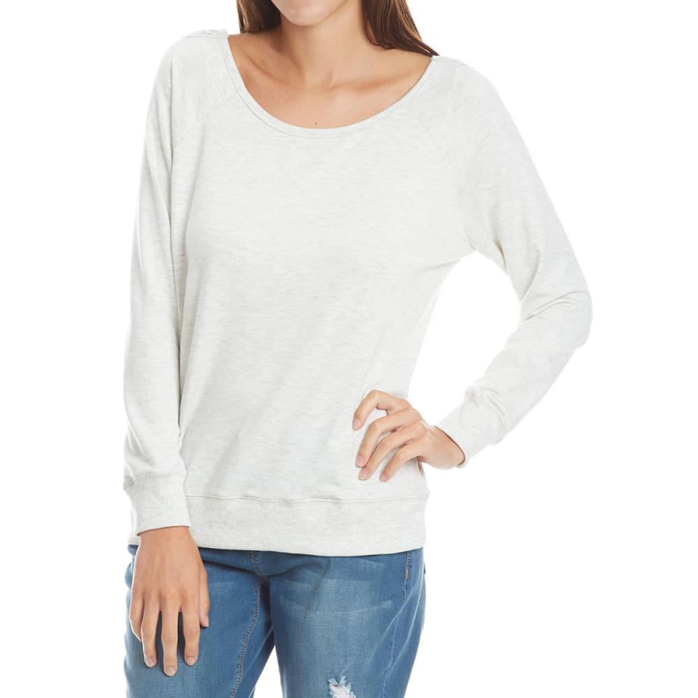 THYME & HONEY Women's Back Lace Detail Knit Long-Sleeve Shirt - WHITE HTHR