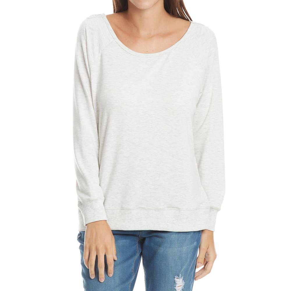 THYME & HONEY Women's Back Lace Detail Knit Long-Sleeve Shirt - WHITE HTHR