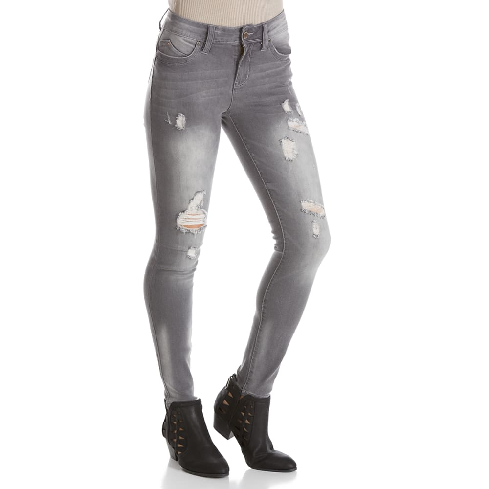 YMI Juniors' WannaBettaButt Light Destruction Midrise Skinny Jeans - X570-GREY