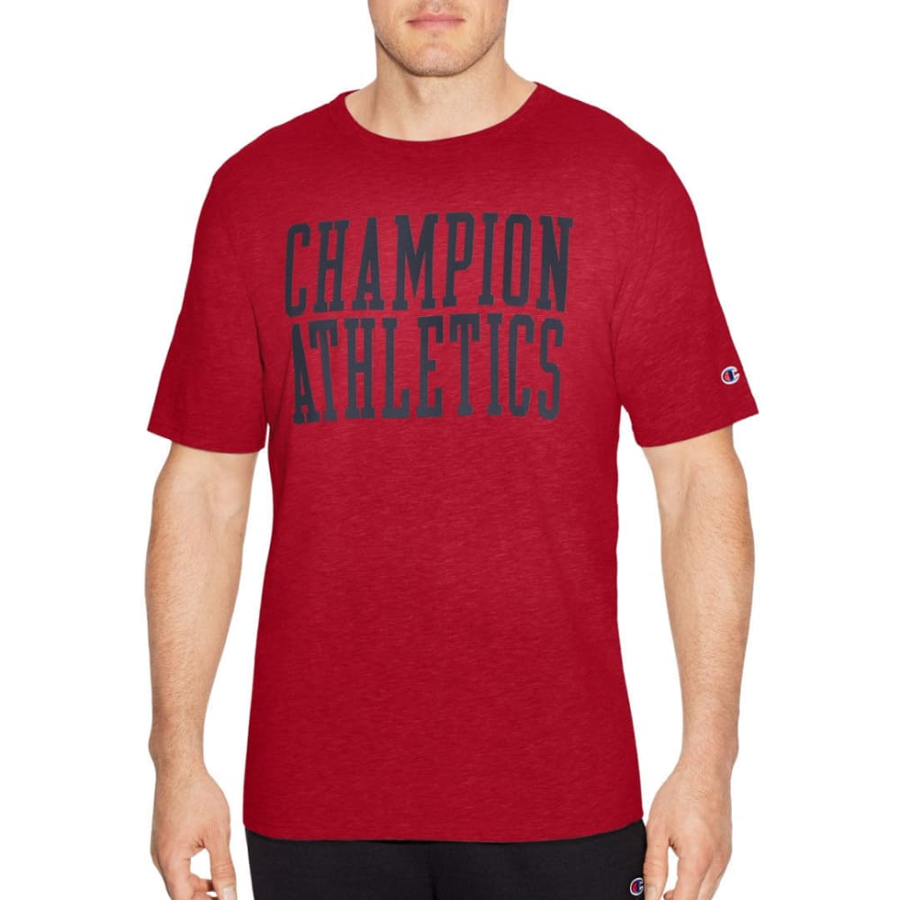 Champion Men's Heritage Slub Short-Sleeve Tee - Red, M