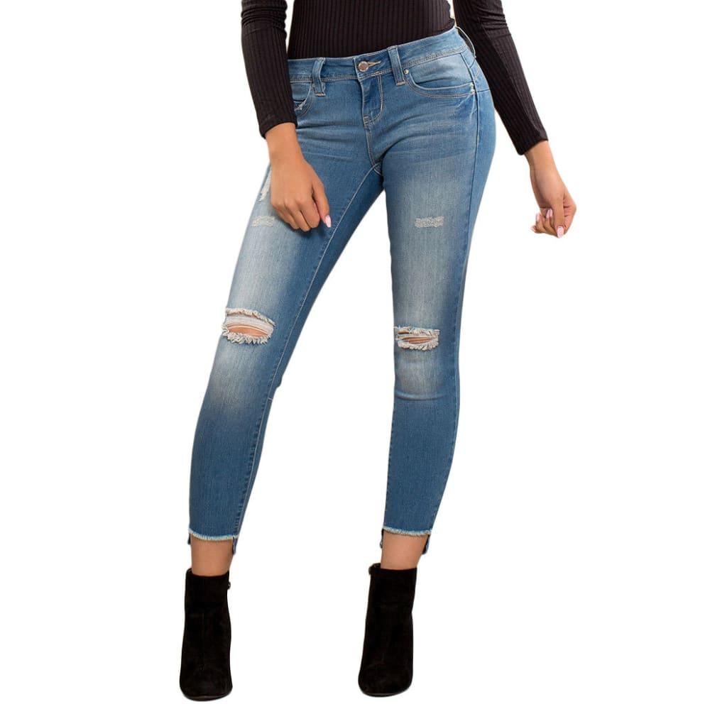 YMI Juniors' WannaBettaButt Step Up Distressed Skinny Jeans - R707-MED WASH