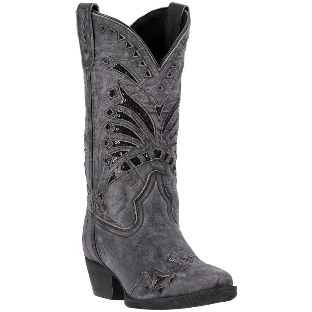LAREDO Women's Stevie Cowboy Boots, Black - BLACK DISTRESSED