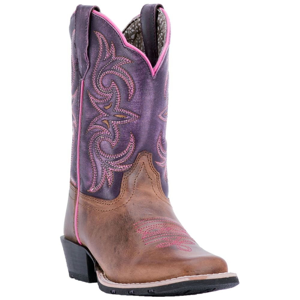 DAN POST Girl's Majesty Cowboy Boots, Brown - BROWN-PURPLE
