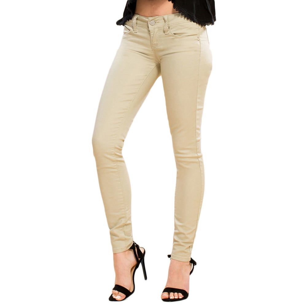 YMI Juniors' Wanna Betta Butt Colored Twill Skinny Jeans - SAND