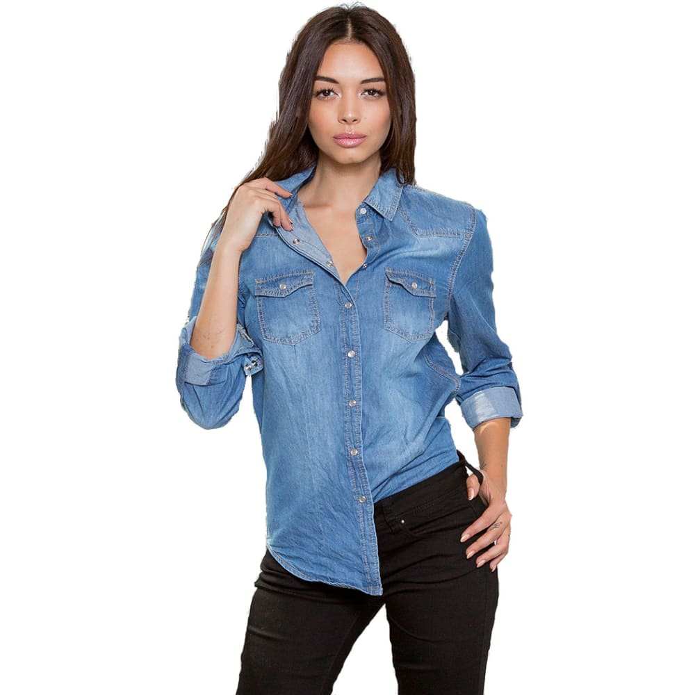 YMI Junior Chambray Button-Up Shirt - M36-MED WASH