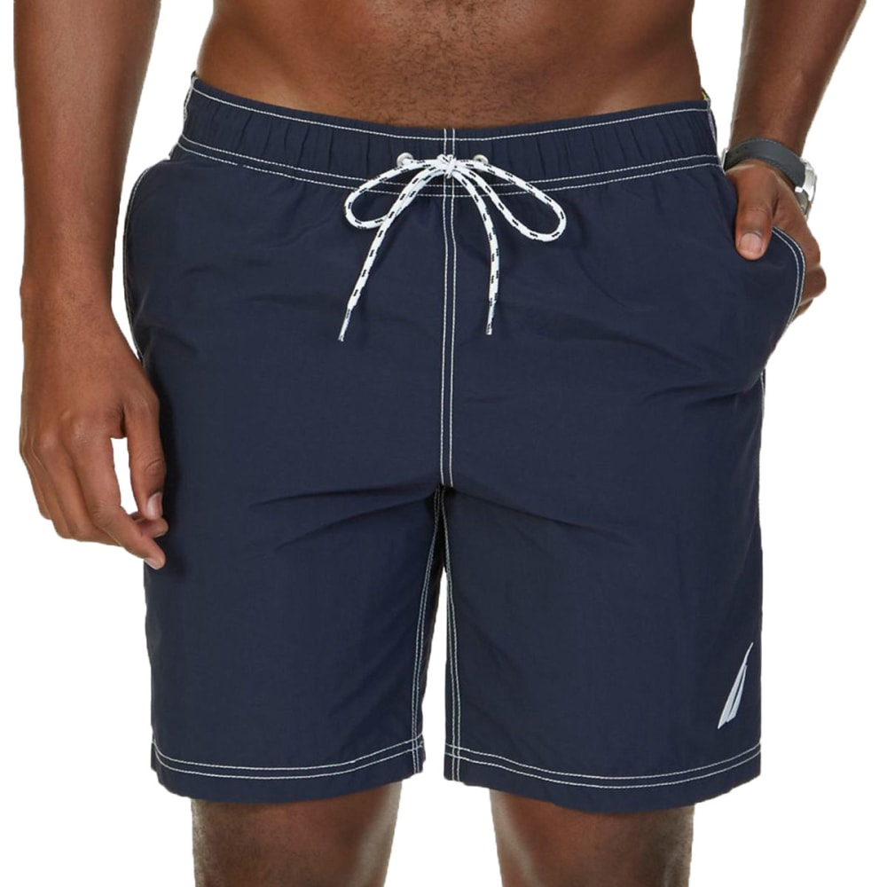 NAUTICA Men's Quick-Dry Signature Swim Trunks - NAVY- 4NV