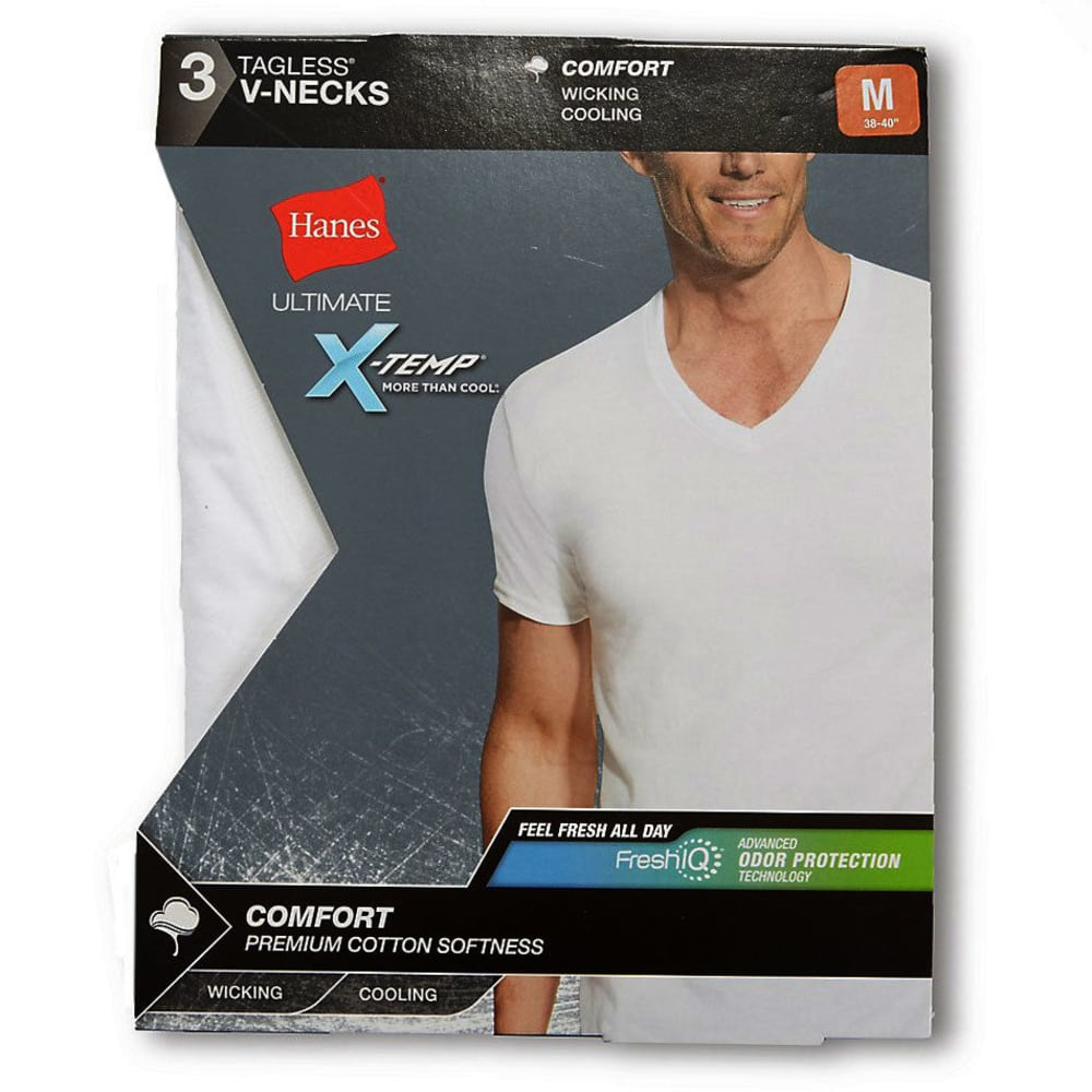 HANES Men's Ultimate X-Temp V-Neck Short-Sleeve Tees, 3-Pack - WHITE