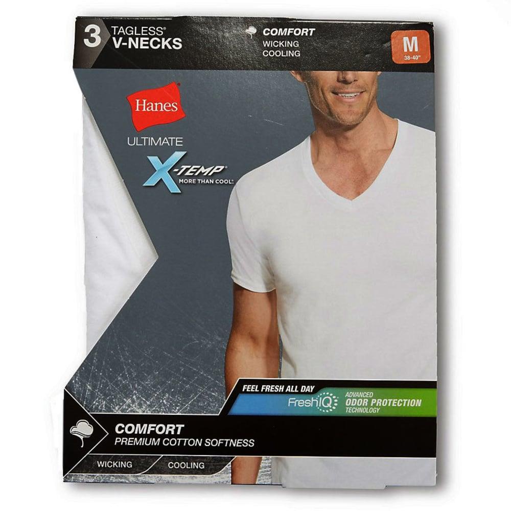 HANES Men's Ultimate X-Temp V-Neck Short-Sleeve Tees, 3-Pack - WHITE